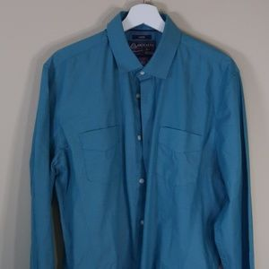 Solid Teal Long-Sleeve Casual Button-Up Shirt